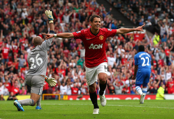 MANCHESTER, ENGLAND - SEPTEMBER 15:  Javier Hernandez of Manchester United celebrates after scoring the second goal during the Barclays Premier League match between Manchester United and Wigan Athletic at Old Trafford on September 15, 2012 in Manchester,