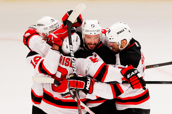 Ilya Kovalchuk of the New Jersey Devils (center).