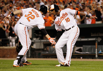 Adam Jones and Matt Weiters slapping low five.