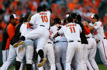 Orioles celebrating one of their September victories