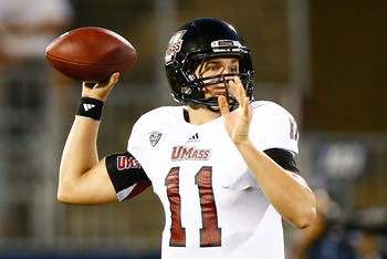 UMass quarterback Mike Wegzyn