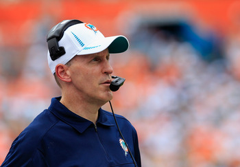 MIAMI GARDENS, FL - SEPTEMBER 16:  Head coach Joe Philbin of the Miami Dolphins looks on during the game against the Oakland Raiders at Sun Life Stadium on September 16, 2012 in Miami Gardens, Florida.  (Photo by Chris Trotman/Getty Images)