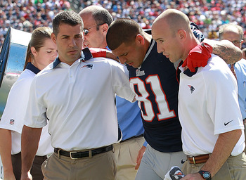Aaron Hernandez suffered a serious ankle injury during Week 2.