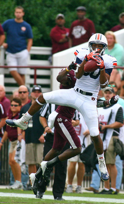 Sept 8, 2012; Starkville, MS, USA;   Auburn Tigers wide receiver Emory Blake (80) catches the ball during the game against the Mississippi State Bulldogs at Davis Wade Stadium.  Mississippi State Bulldogs defeated the Auburn Tigers 28-10.  Mandatory Credi