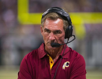 Sep 16, 2012; St. Louis, MO, USA; Washington Redskins head coach Mike Shanahan during the second half against the St. Louis Rams at the Edward Jones Dome. The Rams defeated the Redskins 31-28. Mandatory Credit: Photo by Scott Rovak-US PRESSWIRE