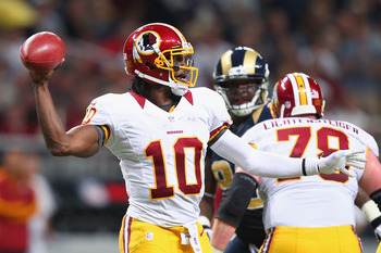 ST. LOUIS, MO - SEPTEMBER 16: Robert Griffin III #10 of the Washington Redskins passes against the St. Louis Rams at the Edward Jones Dome on September 16, 2012 in St. Louis, Missouri.  (Photo by Dilip Vishwanat/Getty Images)