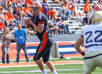 Illinois quarterback Reilly O'Toole drops back to pass against Charleston Southern. (Via Dan Kopp of SportsPageMagazine.com)