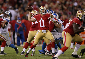 SAN FRANCISCO, CA - SEPTEMBER 16:  Alex Smith #11 of the San Francisco 49ers passes the ball during their game against the Detroit Lions at Candlestick Park on September 16, 2012 in San Francisco, California.  (Photo by Ezra Shaw/Getty Images)