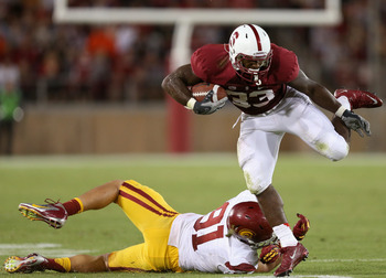 Stanford RB Stepfan Taylor rumbles for extra yards in the Cardinal's 21-14 upset of USC.