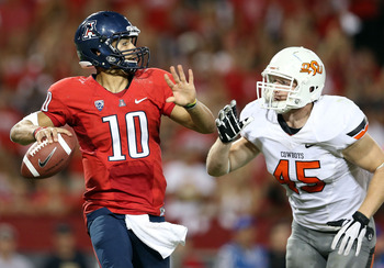 Arizona QB Matt Scott gets ready to unload as the Oklahoma State pressure closes in.