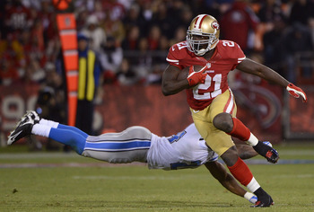 Frank Gore rushed for 89 yards against Detroit
