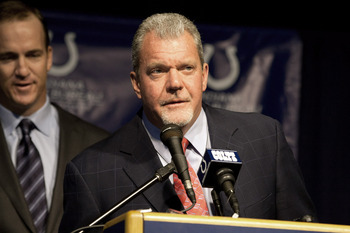 'Pay no attention to the man behind me,' says Jim Irsay.