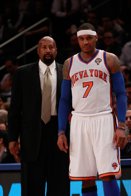 Woodson, with Carmelo Anthony
