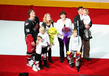 Doan (shown with his family at a recent game) reiterated time and time again during the free agent period, that his family came first