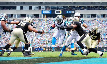 DeAngelo Williams (34) reached the end zone for the first time this season against the Saints.