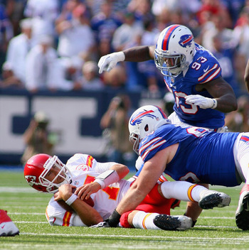 Kyle Williams sacked Matt Cassel twice in the win over the Chiefs.
