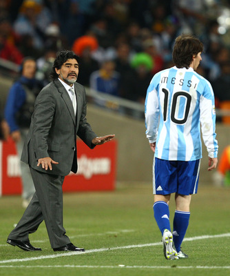 Maradona (left) and Messi