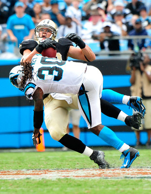Jimmy Graham scored an early TD and dunked over the crossbar, but after that, he found a steady diet of full-court press from the Panthers D.