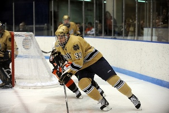 Blackhawks prospect Joe Lavin at Notre Dame