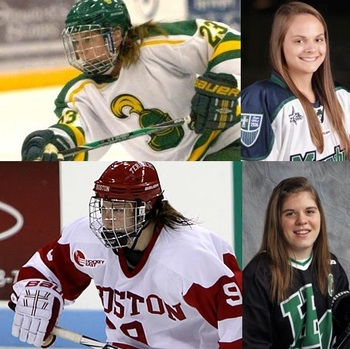 Clockwise from top left: Erin Ambrose (courtesy of Clarkson), Emily Jackson (photo by Jennifer White), Hannah Brandt (Photo by MN Girls Hockey Hub), Sarah Lefort (Photo by Todd Huxley Smith)