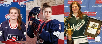 Paige Savage by USA Hockey, Haley Skarupa by Jonathan Timmes, Hannah Brandt by Minnesota Girls Hockey Hub