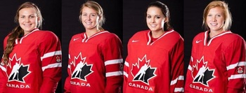 From left: Morgan Richardson, Alexis Crossley, Emerance Maschmeyer, Julia McKinnon (Images courtesy of Hockey Canada)