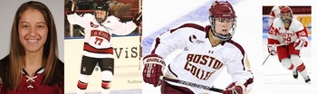 Jillian Dempsey (Courtesy of Harvard Crimson), Kendall Coyne Northeastern (Obtained from New England Hockey Journal, Photo from Huskies Athletics), Alex Carpenter (From USCHO photoshelter, by Melissa Wade), Marie-Philip Poulin BU (Photo by Steve McLaughlin, BU Athletics)