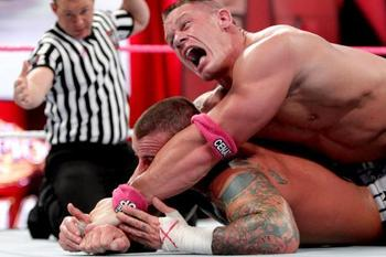 John Cena applies the STF onto CM Punk. (Courtesy of WWE.com)
