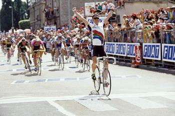 Jean-Paul van Poppel (PDM) winning a stage of the Tour in 1991.