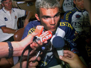 Que? Festina leader Richard Virenque under pressure in 1998.