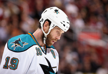 GLENDALE, AZ - MARCH 29:  Joe Thornton #19 of the San Jose Sharks skates up to the face off circle during the thrid period of the NHL game against the Phoenix Coyotes at Jobing.com Arena on March 29, 2012 in Glendale, Arizona. The Coyotes defeated the Sha