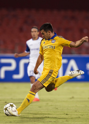 RAMAT GAN, ISRAEL - AUGUST 28:  Aleksandr Volodko of FC BATE Borisov in action during the UEFA Champions League Play-Off match between Hapoel Kiryat Shmona FC and FC BATE Borisov held on August 28, 2012 at the Itztadion Ramat Gan stadium in Ramat Gan, Isr