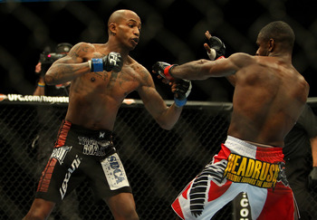 Dec 10, 2011; Toronto, ON, Canada; UFC fighter Walel Watson (left) against fighter Yves Jabouin during a bantamweight bout at UFC 140 at the Air Canada Centre. Mandatory Credit: Tom Szczerbowski-US PRESSWIRE