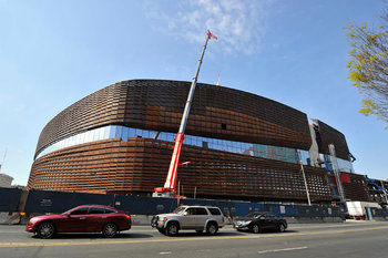 Change of scenery for the Brooklyn Nets, the Barclay's Center—still under construction.