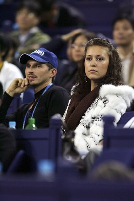 Irina Davydenko looks on in Shanghai