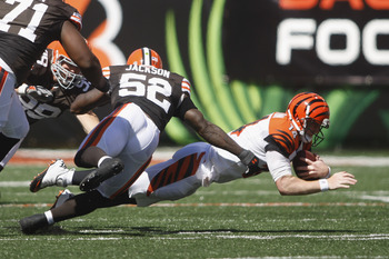 D'Qwell Jackson in on one of the sacks against Andy Dalton in week 2.