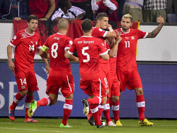 Switzerland celebrate their World Cup qualifying victory