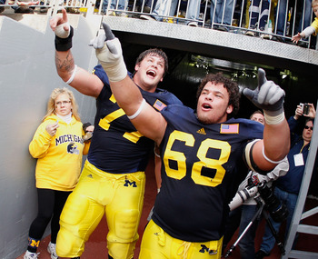 Taylor Lewan (left) is the leader of Michigan's offensive line