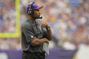 Sep 9, 2012; Minneapolis, MN, USA; Minnesota Vikings head coach Leslie Frazier against the Jacksonville Jaguars at the Metrodome. The Vikings defeated the Jaguars 26-23 in overtime. Mandatory Credit: Brace Hemmelgarn-US PRESSWIRE