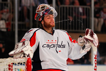 Braden Holtby rinsing out after a dental appointment.