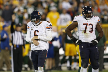 Bears' quarterback Jay Cutler had a little more than words to express his disappointment in left tackle Ja'Marcus Webb.