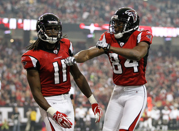 Atlanta wide receivers Roddy White and Julio Jones comprise one of the best receiving duos in the league.