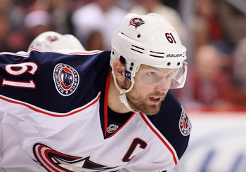 Rick Nash is finally out of Columbus and in the Big Apple, but he still can't join his new team.