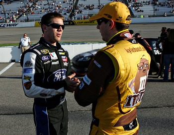Could Carl Edwards (left) and Kyle Busch surprise at Loudon?