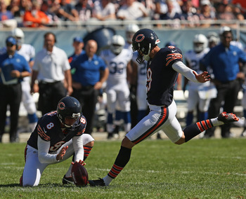 Robbie Gould (9) was 3-3 on field goals yesterday.