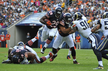 Michael Bush (29) started for the injured Matt Forte.