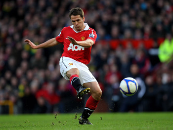 MANCHESTER, ENGLAND - JANUARY 09:   Michael Owen of Manchester United in action during the FA Cup sponsored by E.ON 3rd round match between Manchester United and Liverpool at Old Trafford on January 9, 2011 in Manchester, England. (Photo by Alex Livesey/G