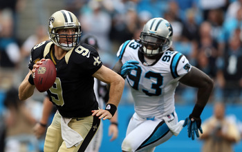 CHARLOTTE, NC - SEPTEMBER 16:  Drew Brees #9 of the New Orleans Saints during their game at Bank of America Stadium on September 16, 2012 in Charlotte, North Carolina.  (Photo by Streeter Lecka/Getty Images)