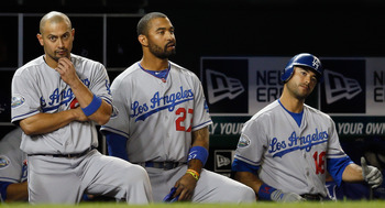 Victorino (left) stands next to Matt Kemp and Andre Ethier