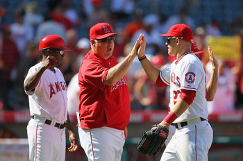 Mike Scioscia and rookie phenom Mike Trout